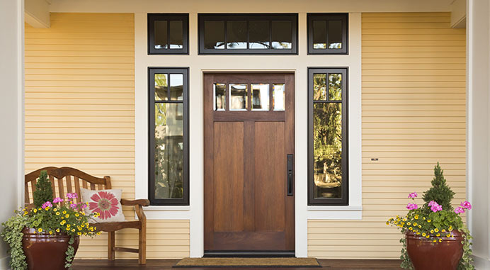 Custom Wood Door with windows above and beside the door