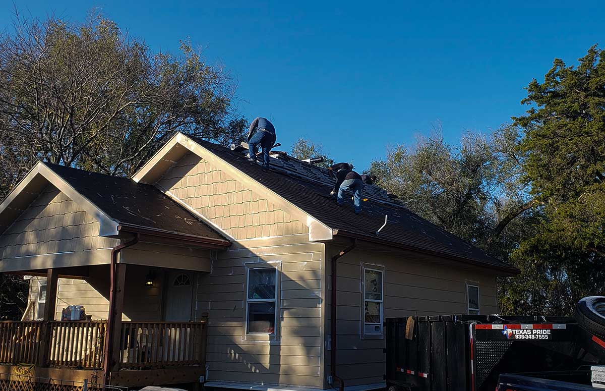 Take a look at this cozy little home that has new siding. You can see the boys at Above and Beyond Roofing and Construction reroofing the home.