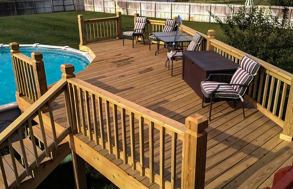 Nice clean deck next to a swimming pool